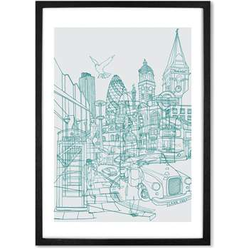 London Illustration Framed Wall Art Print, Teal & Grey (More Sizes Available) (H44 x W33 x D2cm)