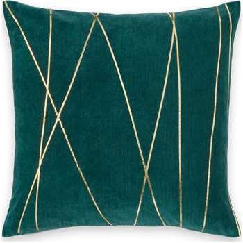 Lonford Velvet Cushion, Peacock Green & Gold (H45 x W45cm)