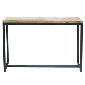 LONG ISLAND Metal and solid wood console table in black (Width 119cm Long)