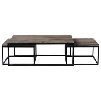 LONG ISLAND Nest of 3 metal and wood industrial coffee tables Long (45 x 120cm)