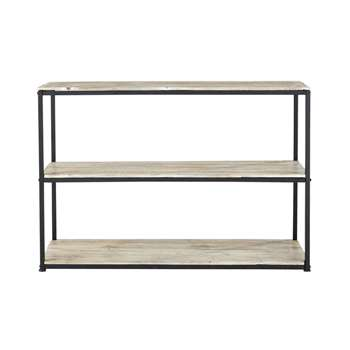 LONG ISLAND Solid Fir and Metal Console Table in Whitewash Finish Long (80 x 120cm)