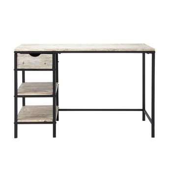 LONG ISLAND Solid Fir and Metal Industrial Desk in Whitewash Finish (75 x 120cm)