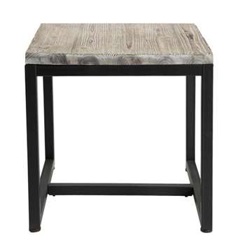 LONG ISLAND Solid Fir and Metal Industrial Side Table in Whitewash Finish (53 x 48cm)