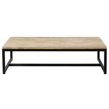 LONG ISLAND - Solid Fir and Metal Industrial Coffee Table (H36 x W129 x D69cm)