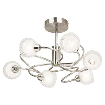 Lonsdale 6 Light Ceiling Light Satin Nickel (H24 x W44 x D44cm)