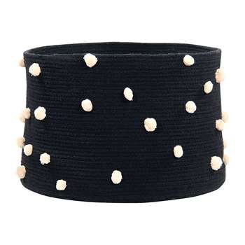 Lorena Canals - Pebbles Cotton Basket - Black (H30.5 x W35.5 x D35.5cm)