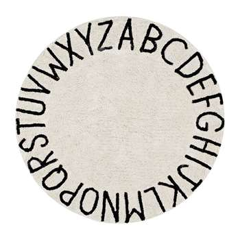 Lorena Canals - Round ABC Washable Rug - Natural/Black (H150 x W150cm) (Diameter 150cm)
