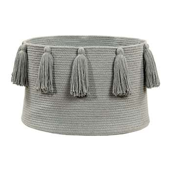 Lorena Canals - Tassels Cotton Basket - Light Grey (H30.5 x W35.5 x D35.5cm)