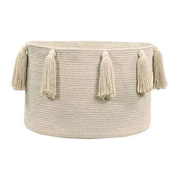 Lorena Canals - Tassels Cotton Basket - Natural (H30.5 x W35.5 x D35.5cm)