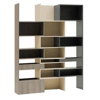 Lori Concertina Bookcase in Graphite, Cashmere & Oak Grey (Width 65-160cm)