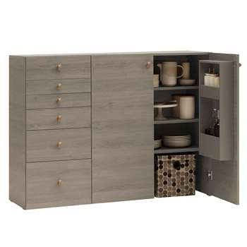 Vox Lori Sideboard with Built in Storage in Oak Grey (H103 x W135 x D47cm)