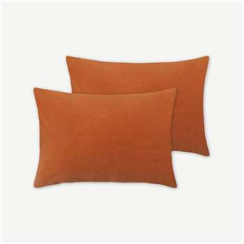 Lorna Set of 2 Velvet Cushions, Papaya (H35 x W50cm)