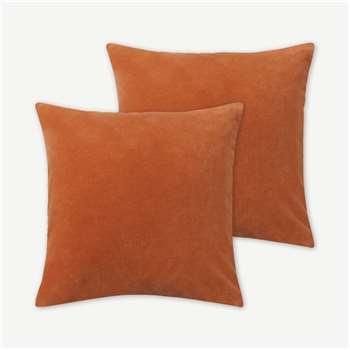 Lorna Set of 2 Velvet Cushions, Papaya (H45 x W45cm)