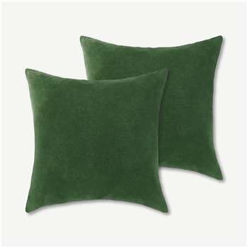 Lorna Set of 2 Velvet Cushions, Leaf Green (H45 x W45cm)