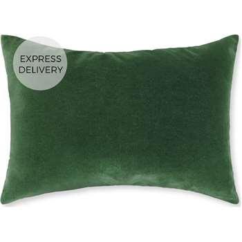 Lorna Velvet Cushion 35 x 50cm, Leaf Green (H35 x W50cm)