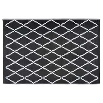 LOSIA Black and White Geometric Motif Outdoor Rug (H120 x W180cm)