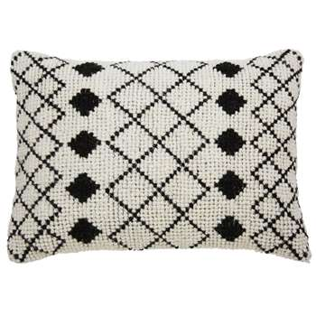 LOTI Ecru wool and cotton cushion with black motifs (40 x 60cm)