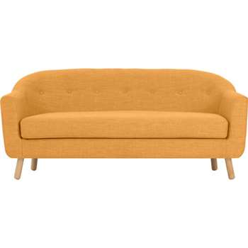 Lottie 3 Seater Sofa, Honey Yellow (75 x 175cm)