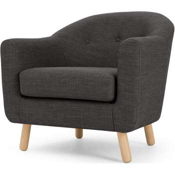 Lottie Armchair, Seal Grey (H75 x W84 x D79cm)