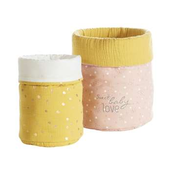 LOU 2 Pink and Mustard Yellow Cotton Storage Baskets (H20 x W25 x D20cm)