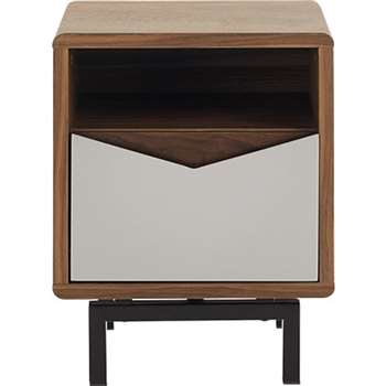 Louis Bedside Table, Walnut and Charcoal (50 x 40cm)