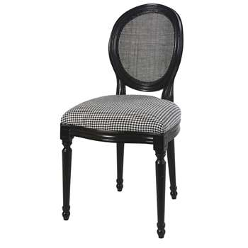 LOUIS Houndstooth Print and Rattan Cane Medallion Chair (H94 x W50 x D56cm)