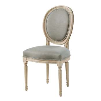 LOUIS Khaki Green Linen and Solid Oak Medallion Chair (H94 x W50 x D56cm)