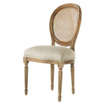 LOUIS Linen and solid oak medallion chair (94 x 49cm)