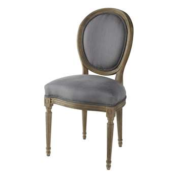 LOUIS Linen and solid oak medallion chair in grey taupe (94 x 49cm)