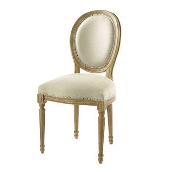 LOUIS Linen and solid oak medallion chair - with back pad (94 x 49cm)