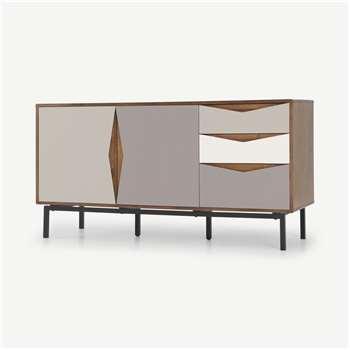 Louis Sideboard, Walnut & Warm Neutrals (H80 x W155 x D46cm)