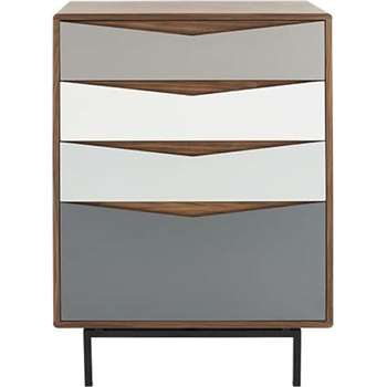 Louis Tall Chest Of Drawers, Walnut and Charcoal (124 x 90cm)