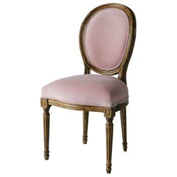 LOUIS Velvet medallion chair in pink (94 x 49cm)