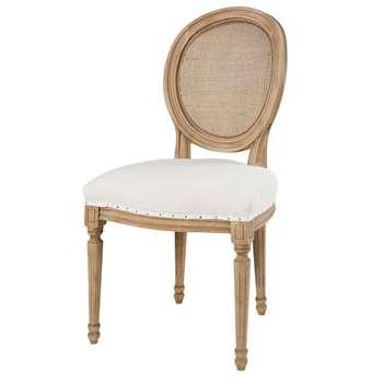 LOUIS White Linen and Rattan Cane Medallion Chair (H94 x W50 x D56cm)