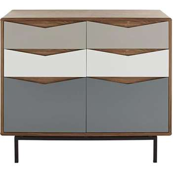 Louis Wide Chest Of Drawers, Walnut & Charcoal (104 x 72cm)