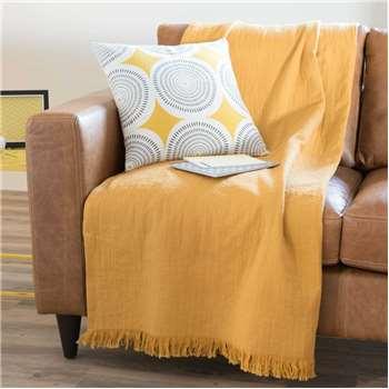 LOUISE yellow cotton throw (130 x 170cm)