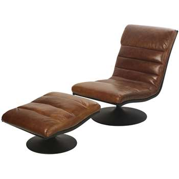 LOUNGE Brown Leather Vintage Armchair and Footrest Lounge (H90 x W63 x D172cm)