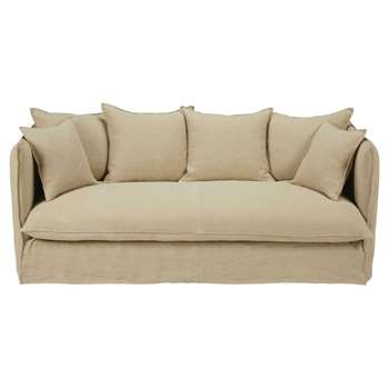 LOUVRE Beige 3/4-seater washed linen sofa bed (84 x 203cm)