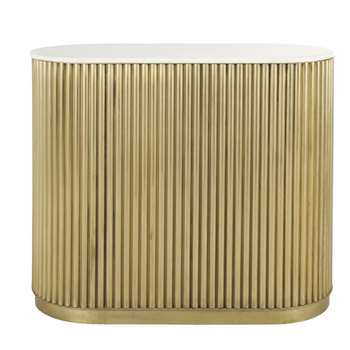 LOUXOR - Bronze-Coloured Corrugated Metal and White Marble Bar (H105 x W120 x D55cm)