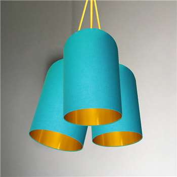 Love Frankie Brushed Copper Or Gold Tube Chandelier In Aqua