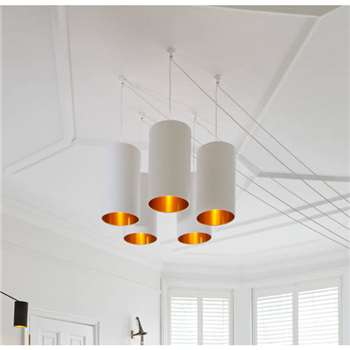Love Frankie Brushed Copper Or Gold Tube Chandelier In White