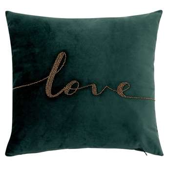 LOVE - Green Cushion Cover with Gold Beads (H40 x W40cm)