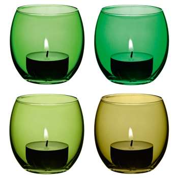 LSA International Coro Tealight Holder, Set of 4, Leaf (7 x 6.5cm)