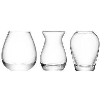 LSA International Flower Mini Vase Gift Set, Set of 3 (Height 9cm)