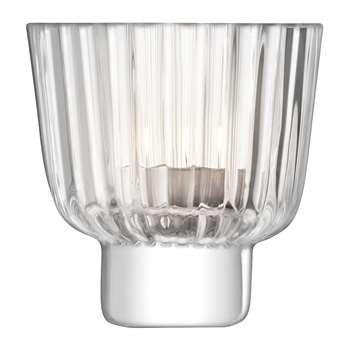 LSA International - Pleat Tealight Holder - Clear (H9 x W9 x D9cm)
