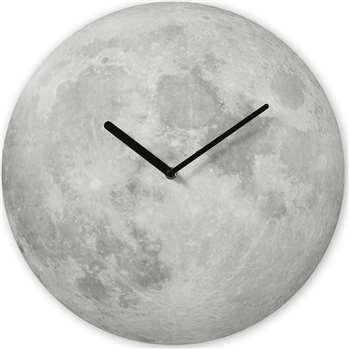 Lua Moon Screenprinted Domed Wall Clock, Grey (Diameter 40cm)
