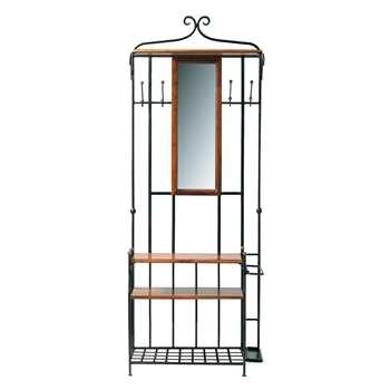 LUBÉRON Solid sheesham wood hallway unit and mirror W 83cm