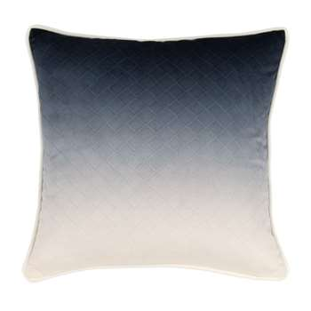 LUCERNE - White and Blue Cotton Cushion Cover (H40 x W40cm)