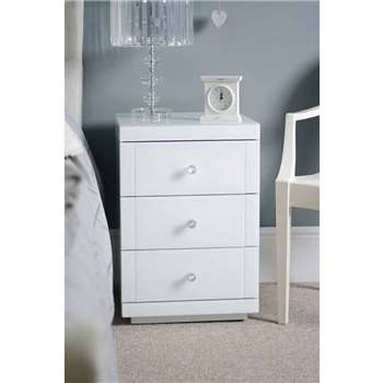 LUCIA White Glass Bedside Table with 3 Drawers (65 x 44cm)