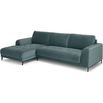 Luciano Left Hand Facing  Chaise End Corner Sofa, Marine Green Velvet (H80 x W273 x D154cm)